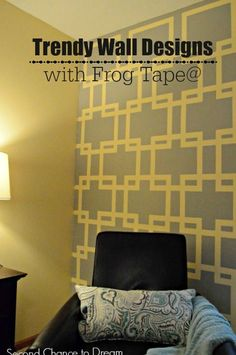 Second Chance to Dream: Trendy Wall Designs with Frog Tape Frog Tape Wall, Diy Ideas, Decor Ideas, Creative Ideas, Stencil Painting, Painting Tips, Canvas Art Projects, Grey Home Decor, Bedroom Decor