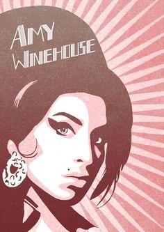 Poster 'Amy winehouse' com moldura   Dependure   Elo7