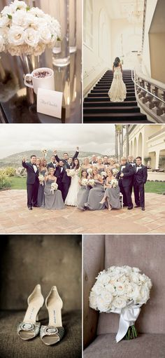 Grey bridesmaids with light flowers / exactly what I planned on doing!!