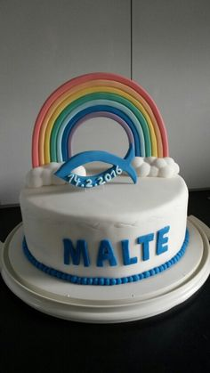 Rainbow Cake Topper Regenbogen, Fisch, Taufe