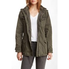 BNCI by Blanc Noir Garment Washed Field Jacket ($70) ❤ liked on Polyvore featuring outerwear, jackets, olive, olive jacket, brown military jacket, army green military jacket, hooded jacket and olive green field jacket