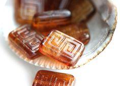 Rectangle Czech Beads, Greek Key, Brown Topaz (8) - MayaHoneyBead
