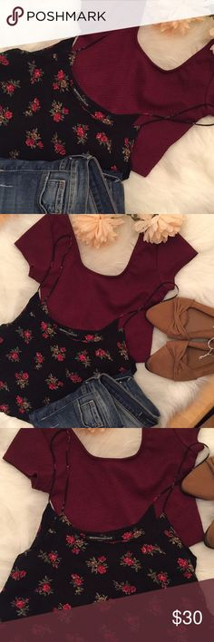 LOT OF2️⃣CROPPED TOPS| BRANDY MELVILLE & LA HEARTS 2  EUC cropped tops in this listing. The floral one is Brandy Melville and burgundy is LA hearts. The brand tag on the floral one is coming loose otherwise no flaws. See photos for measurements. Brandy Melville is one size, la hearts is XS.  ❌PayPal, trades, holds, models ❤️poshmark ambassador 👍 offers*** Please use the offer button 📦 same or next day 🛍 I wrap all my orders with delight💕 Brandy Melville Tops Crop Tops