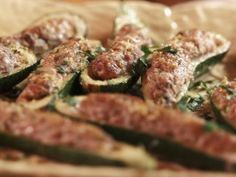 Stuffed Zucchini...maybe use ground turkey  Recipe courtesy of Gabriele Corcos and Debi Mazar Show: Extra Virgin Episode: A Tuscan Thanksgiving