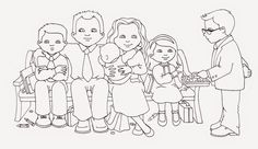 susan fitch design: Sacrament Family (Illustration & Coloring Page!)