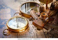 Old Compass Astrolabe On Vintage Map: stock fotografie (k okamžité úpravě) 339925193 Puzzle Of The Day, Compass, Jigsaw Puzzles, Retro, Play, Vintage, Art, Art Background, Kunst
