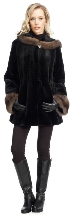 Black Dyed Sheared Mink With Russian Sable Trim Fur Parka