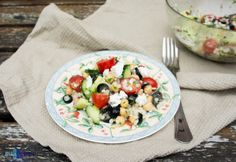 Mediterranean salad with giant couscous.