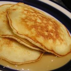Apple Pancakes Recipe - need to double the cinnamon and add a bit more sugar. Use applesauce instead of apple and cut milk by 1/3 cup.