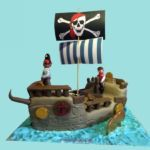 3D Pirate Ship cake Pirate Ship Cakes, Cakes For Women, Birthday Kids, Birthday Celebration, 3d, Christmas Ornaments, Holiday Decor, Desserts, Tailgate Desserts