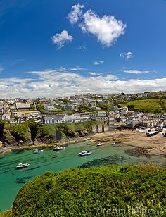 Harbour of Port Isaac with blue skies, Cornwall, England, UK