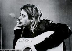 Kurt Cobain (Smoking) With Guitar Black & White Music Poster Print at AllPosters.com