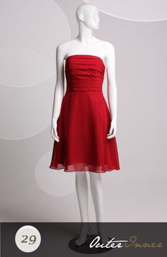 A-line Strapless Reds Short with Ruffles Bridesmaid Dresses Style Code: 06449