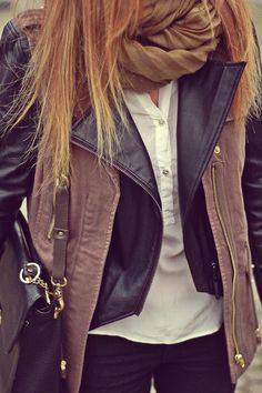Leather jacket with a scarf