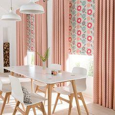 Curtains_Horizon Salmon and Freyja Coral Roman Blind_Dining Room