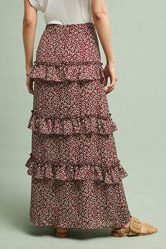 Slide View: 4: Printed Ruffled Maxi Skirt