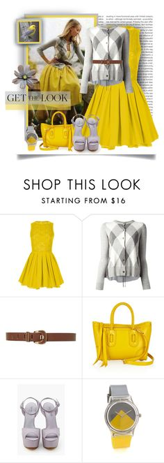 """""""Grey & Yellow"""" by tracireuer ❤ liked on Polyvore featuring Oris, Topshop, Coast + Weber + Ahaus, Alexander McQueen, Shoe Cult and May28th"""