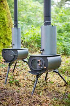Portable woodstove folds down, heats up tents, yurts & tiny homes