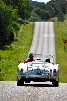 what a way to travel, beautiful car - beautiful land