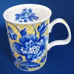 Mug Roy Kirkham Woburn Blue Floral on Yellow Gorgeous England