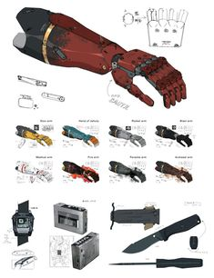 View an image titled 'Bionic Arm Art' in our Metal Gear Solid V art gallery featuring official character designs, concept art, and promo pictures. Snake Metal Gear, Metal Gear Solid, Character Design References, Character Art, Arm Drawing, Mgs V, Mechanical Arm, Armas Ninja, Futuristic Armour