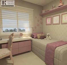 Sou apaixonada pelos projetos de quarto do arquiteto Daniel Kroth Room Design, Small Rooms, House Rooms, Girls Room Decor, Bedroom Decor, Girl Bedroom Designs, Home, Bedroom Design, Home Decor