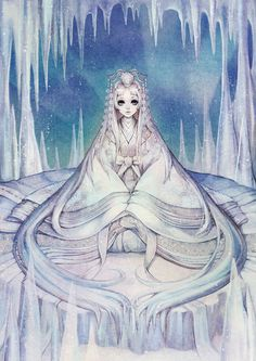 "Reinterpretación del cuento de Disney, ""La reina de las Nieves"", de la artista e ilustradora coreana, Na Young Wu (""Naoyoung Wooh"" aka ""Obsidian"").  https://twitter.com/00obsidian00/media"