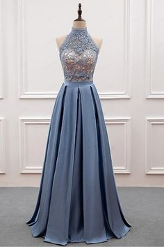 Cute gray satin high neck evening gown for teens  promdress Elegant Prom  Dresses 01aaf0f88e4a