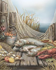 Feast by Beverly Levi-Parker ~ mixed media still life fish lobster crawfish clams