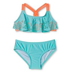 Girls' 2-Piece Flounce Top Bikini Set Aqua - Circo™