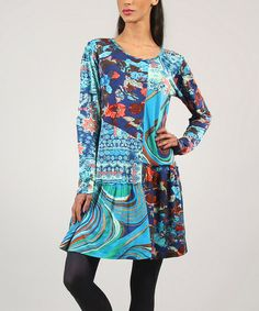 Another great find on #zulily! Turquoise Blue Bohemian Dress - Women by Kushi by Jasko #zulilyfinds