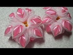 Нежный пушистик из лент и органзы. Канзаши. Kanzashi - YouTube Easy Paper Crafts, Ribbon Crafts, Diy And Crafts, Arts And Crafts, Diwali Craft, Ribbon Jewelry, Handmade Flowers, Fabric Flowers, Projects To Try