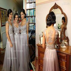 Wholesale Bridesmaid Dress - Buy Hot Cheap Bridalsmaid Dresses Cap Sleeves Gray Chiffon Ruffles Pleats Empire Waist Sash Appliqued Crystal Illusion Back Prom Clothes BO2673, $79.9 | DHgate
