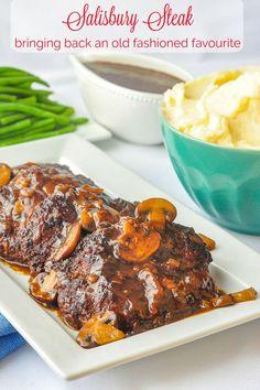 Salisbury Steak with Mushroom Gravy. A budget friendly, very tasty 70's throwback comfort food recipe that deserves to make a big comeback! #budgetmeals #mealplanning #mealprep #oldfashionedrecipes #comfortfood #beefrecipes #groundbeefrecipes