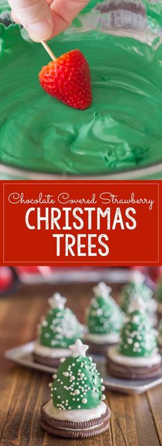 These Chocolate Covered Strawberries that are set on Oreo cookies and turned into Christmas Trees are a fun and easy Christmas project to do with your kiddos! Great for that Winter Holiday Christmas Party for the kids. Christmas Party Food, Holiday Snacks, Xmas Food, Christmas Sweets, Christmas Cooking, Noel Christmas, Christmas Goodies, Simple Christmas, Holiday Recipes