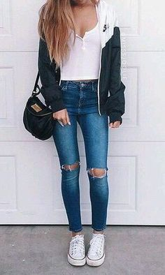 Simple Outfits for Teens for School - - outfit ideen - Simple Outfits For Teens, Casual Outfits, Cheap Outfits, Casual Jeans, Cute Summer Outfits For Teens For School, Autumn Outfits For Teen Girls, Cute Simple Outfits, Casual Ootd, Denim Outfits