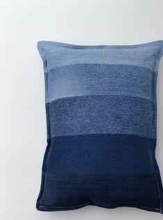 Denim pillow ombre pillow jeans stripes indigo blue