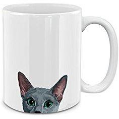 Russian Blue Cat White Ceramic Coffee Mug Tea Cup, 11 OZ