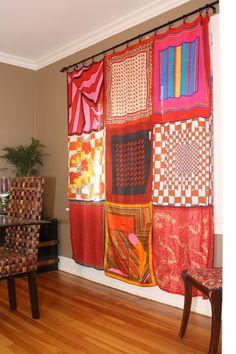 DIY scarf curtains -