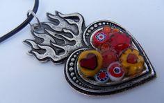 Wonderful Reds Mosaic Millefiori Burning Heart by tilemosaicgirl, $25.00