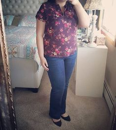 Stitch Fix Reveal || I know it's not spring yet, but I certainly can't wait for it! I just love this new floral blouse and Kut denim I got in my Fix. The last time I wore bootcut denim was in college. (Whoa!) I sure do love styling myself, hehe 😅  #StitchFix #FixObsession #fashion #fashionblogger #fashionista #style #stylefix #shopping #bloggerstyle #blogger #blog #curvy #curvyfashion #plussize #springfashion #springoutfit #ootd #stitchfixstylist