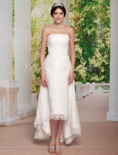 Sheath/ Column Tulle Over Satin Asymetrical Strapless Wedding Dress - $134.99