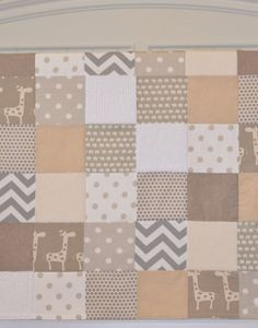 Minky Baby Patchwork Quilt Blanket Riley by KristensCoverlets ... : neutral baby quilt - Adamdwight.com