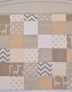 Baby Blanket Neutral Patchwork Baby Blanket / Quilt - Cotton and Organic Cotton Mix Fabrics-Chevron, Elephant, Giraffe