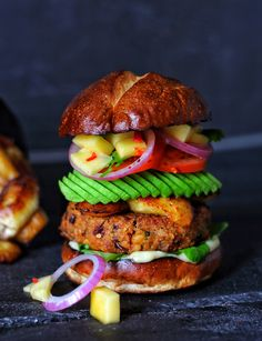 """""""One of my all time favourite Burgers I have made, some amazing smokey flavours, with hint of spice. Then when served with Caramelised Plantain & Mango Salsa..Its a flavour explosion in your mouth!"""""""