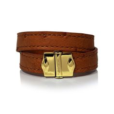 D'Monti Gold Brown - France Luxe Genuine Ostrich Leather Double Bracelet