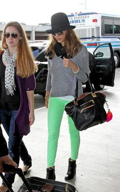 Neon lime jeans with white/grey. Current Elliott stiletto ankle jeans.