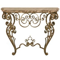 Stellar & Ornate Iron and Stone Console Table w/Tremendous Craftsmanship | From a unique collection of antique and modern console tables at http://www.1stdibs.com/furniture/tables/console-tables/