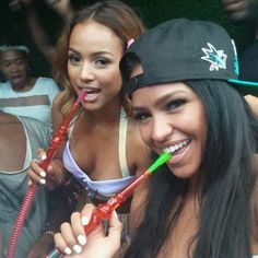 Karrueche & Cassie with our hookah at Toxic