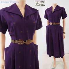 Vtg 40s 50s Size L Purple 100% Wool Copper-Studded Tailored Secretary Day Dress #100WoolLabel #PocketsTailored #Casual